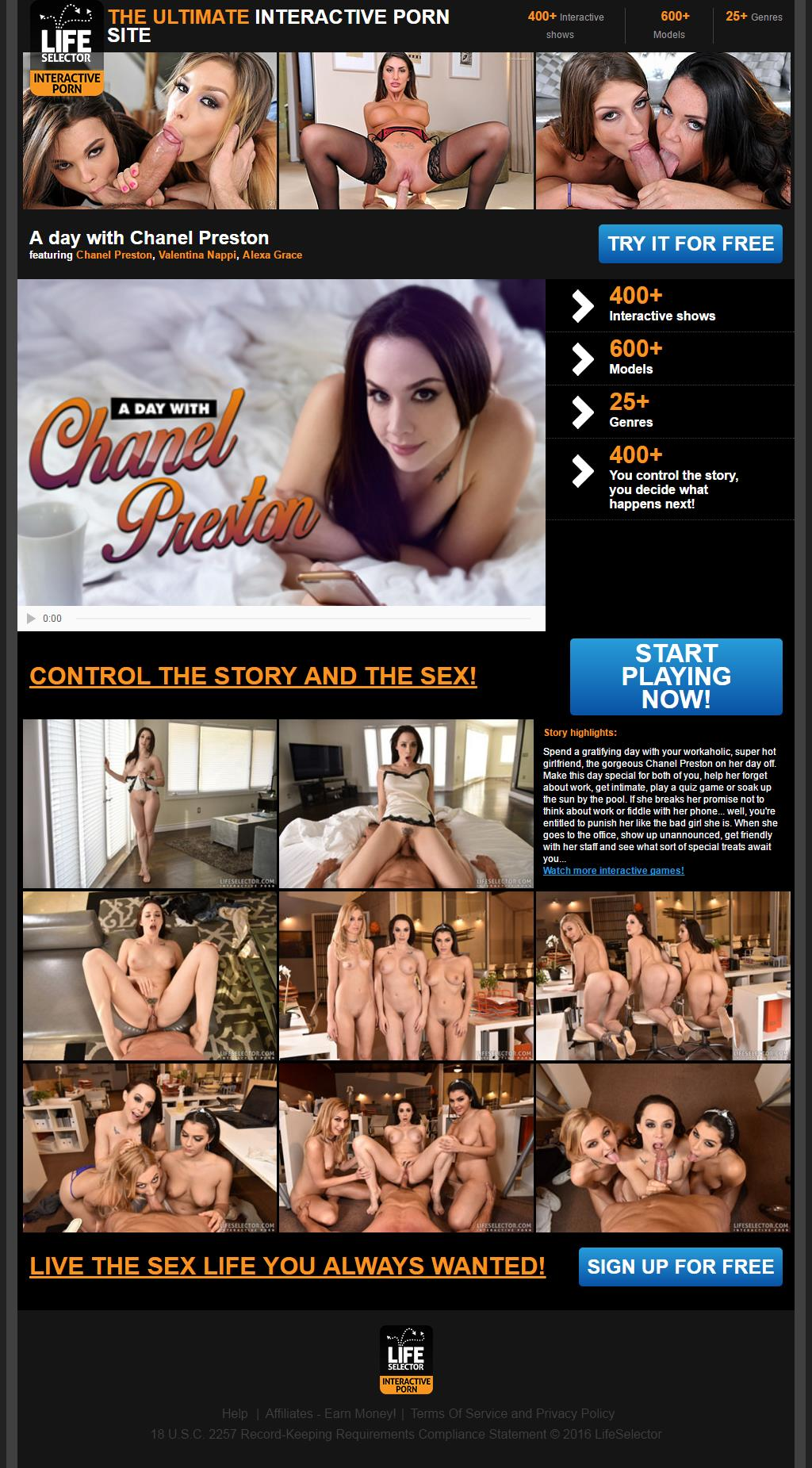 A day with Chanel Preston: Spend a gratifying day with your workaholic, super hot girlfriend, the gorgeous Chanel Preston on her day off. Make this day special for both of you, help her forget about work, get intimate, play a quiz game or soak up the sun by the pool. If she breaks her promise not to think about work or fiddle with her phone... well, you're entitled to punish her like the bad girl she is. When she goes to the office, show up unannounced, get friendly with her staff and see what sort of special treats await you...