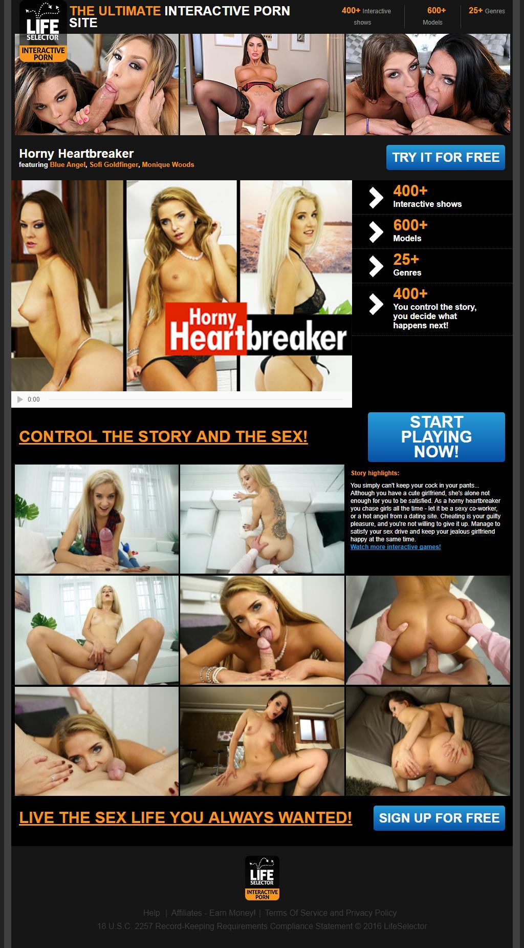 Horny Heartbreaker: You simply can't keep your cock in your pants... Although you have a cute girlfriend, she's alone not enough for you to be satisfied. As a horny heartbreaker you chase girls all the time - let it be a sexy co-worker, or a hot angel from a dating site. Cheating is your guilty pleasure, and you're not willing to give it up. Manage to satisfy your sex drive and keep your jealous girlfriend happy at the same time.